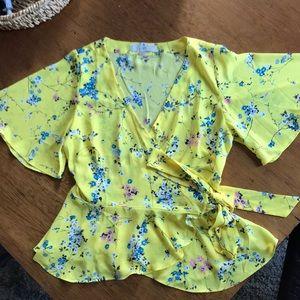 Loft floral wrap blouse